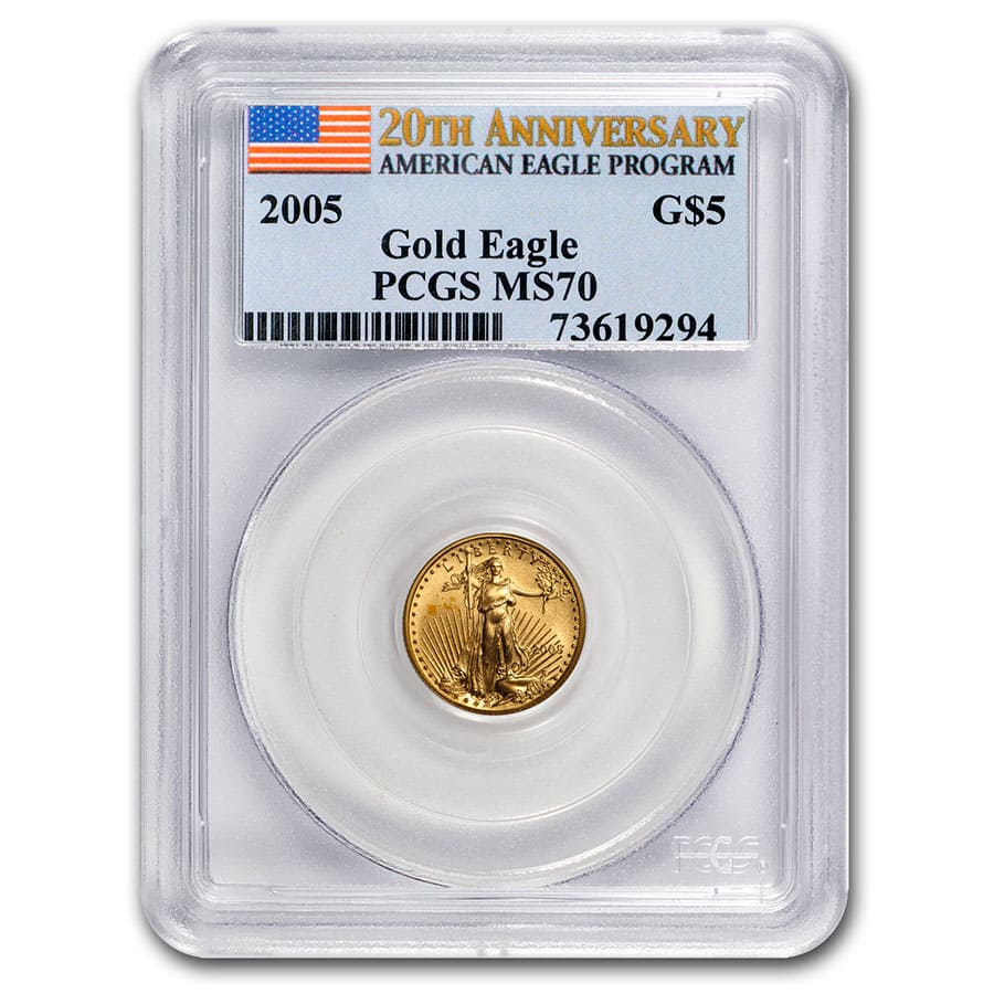 2005 1/10 oz Gold American Eagle MS-70 PCGS (20th Anniv)